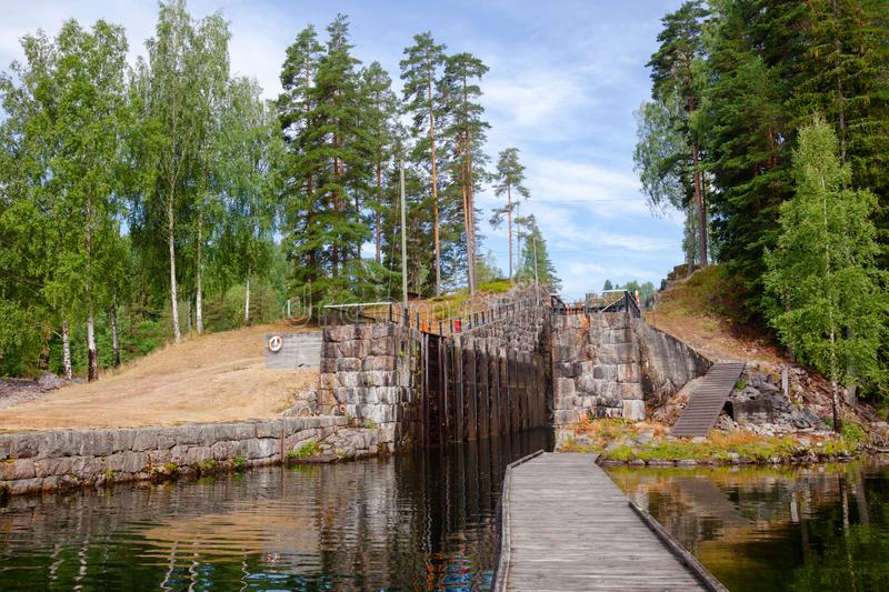 Eidsfoss lock Telemark Canal Telemark Norway. Eidsfoss lock on the Telemark Canal that connects Skien to Dalen in Telemark County, Norway stock photo