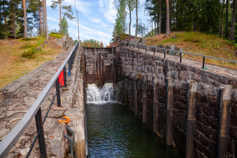 Eidsfoss lock Telemark Canal Telemark Norway. Eidsfoss lock on the Telemark Canal that connects Skien to Dalen in Telemark County, Norway royalty free stock photo