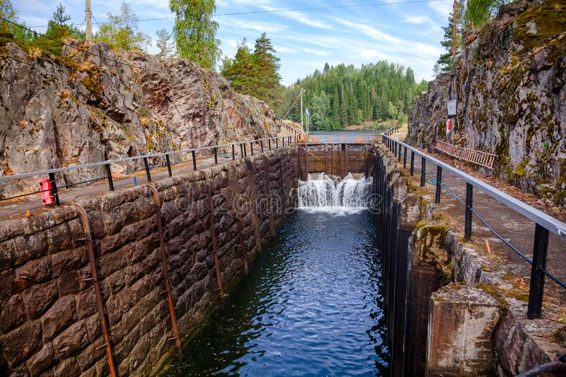 Eidsfoss lock Telemark Canal Telemark Norway. Eidsfoss lock on the Telemark Canal that connects Skien to Dalen in Telemark County, Norway royalty free stock image