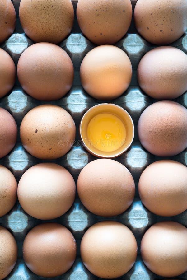 Eier, die in einem Karton und auf einem Tuch aufgemacht sind, und ein gebrochenes Ei und Eigelb darin lizenzfreies stockbild