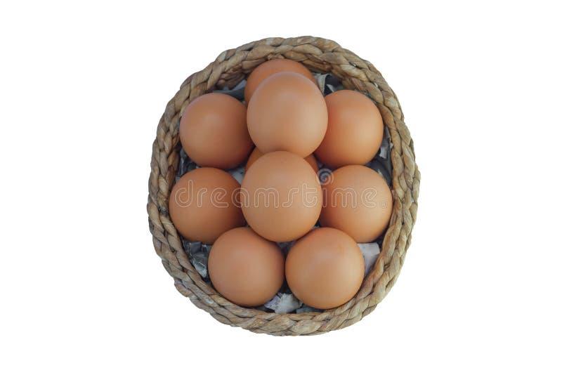 Eier in einem Korb auf weißem Hintergrund lizenzfreies stockbild