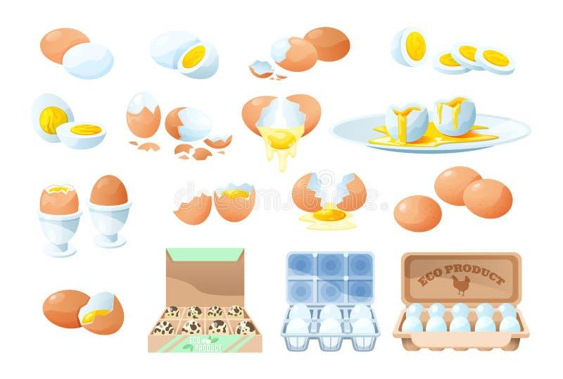 Eier, frisch und gekocht Kochzutat Ökologischer Landbau stock abbildung