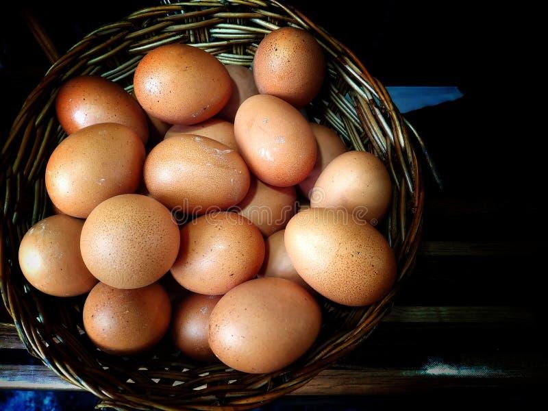 Eier im Weidenkorb lizenzfreie stockbilder