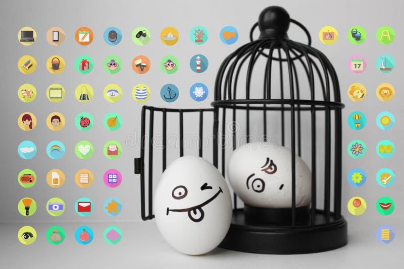 Eier mit gemaltem Gesicht Foto für Ihr Design vektor abbildung