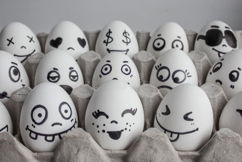 Eier mit Gesichtsfoto für Ihr Design Im Kasten stockfotografie