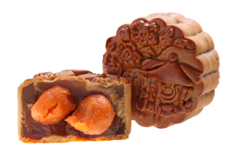 Eierdooier Mooncake stock afbeelding