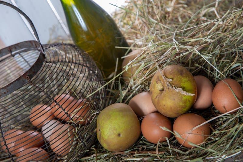 Eieren, appelen en bottlle van cider op het stro stock foto