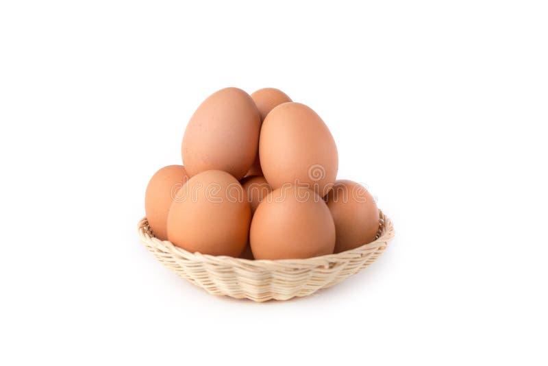 Eieren: Bruin die Ei op Witte Achtergrond wordt geïsoleerd royalty-vrije stock fotografie