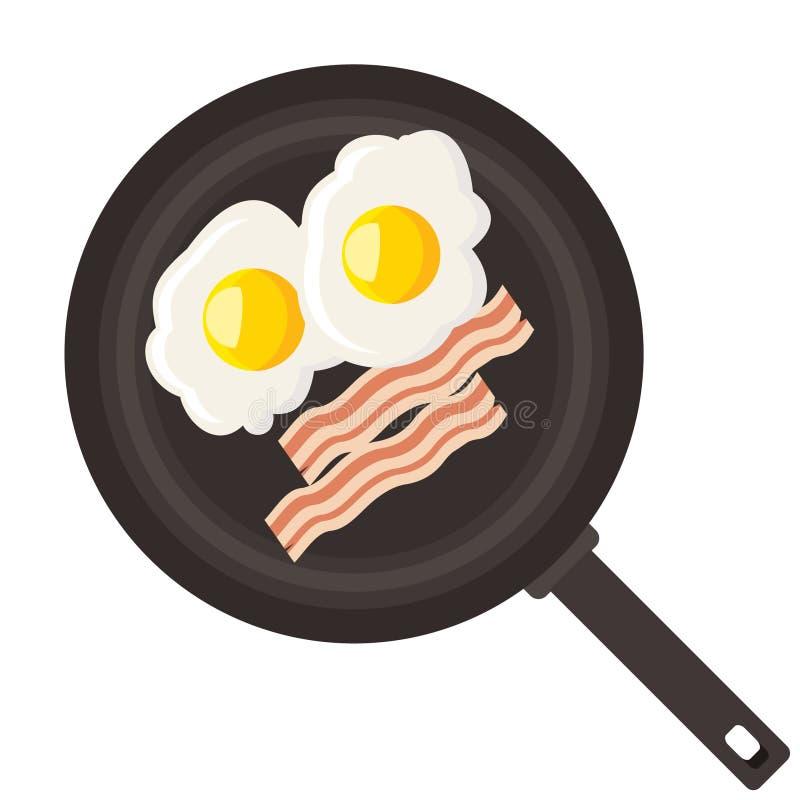 Eieren en bacon in pan royalty-vrije illustratie