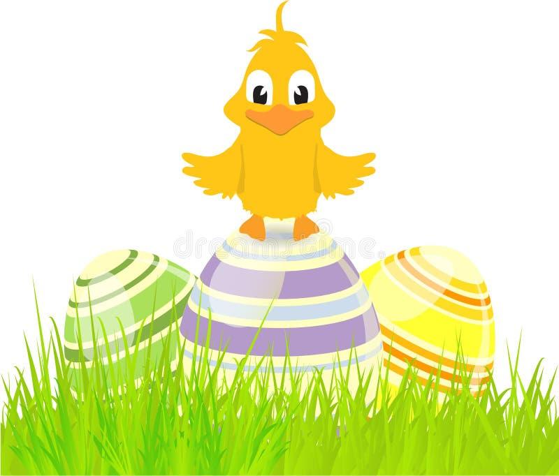Eieren en kuiken op gras stock illustratie