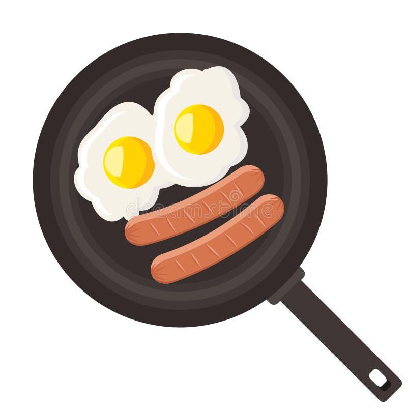 Eieren en worst in pan royalty-vrije illustratie