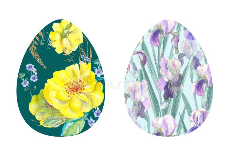 Eieren met sierbloemen royalty-vrije stock foto