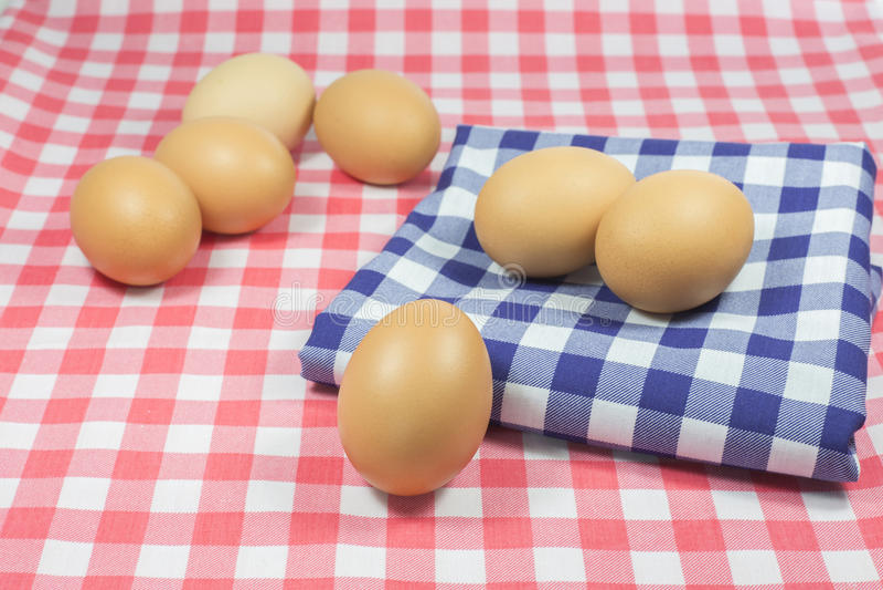 Eieren op blauwe kleurenplaid en roze kleurenplaid stock foto