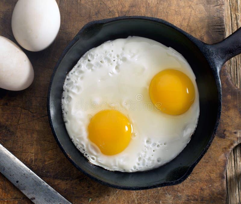 Eieren in pan stock foto