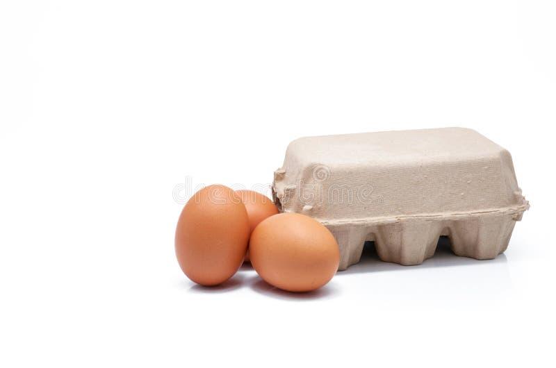 Eieren in papieren doosje geïsoleerd in witte achtergrond Eieren in karton Groene verpakking Kippeneieren van biologische landbou stock foto's