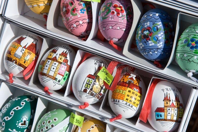 Eieren, Pasen-markt, Praag, Tsjechische republiek stock afbeelding