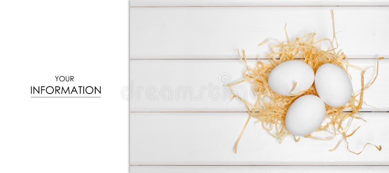 Eieren van wit hooipatroon stock afbeeldingen