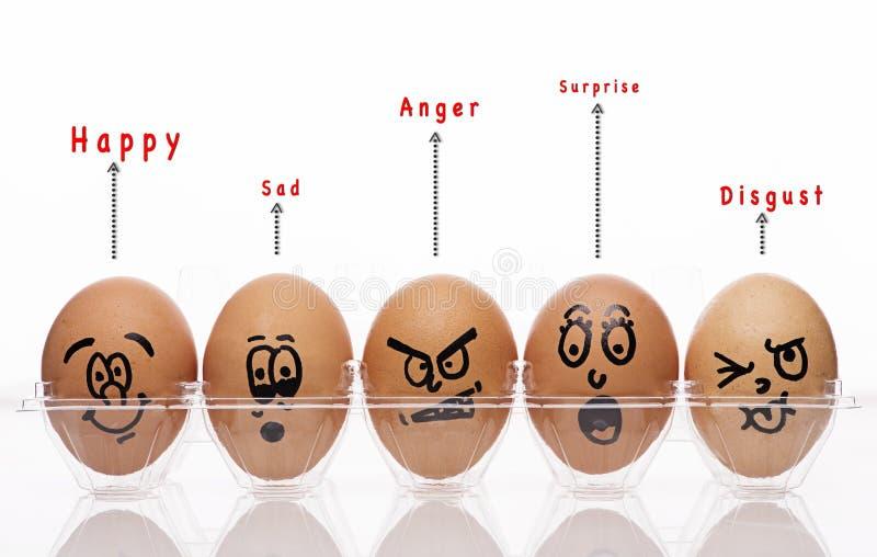 Eierenstijl met emotionele teksten royalty-vrije stock foto