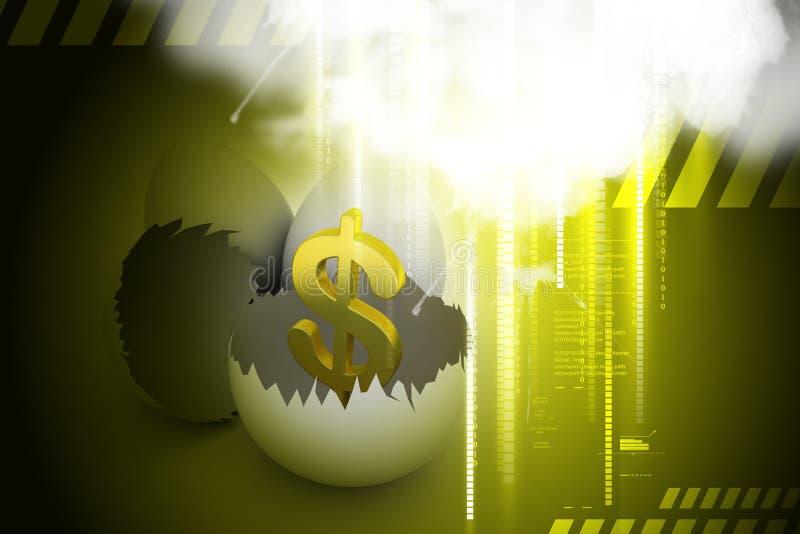 Eierschalen mit Dollar lizenzfreie abbildung