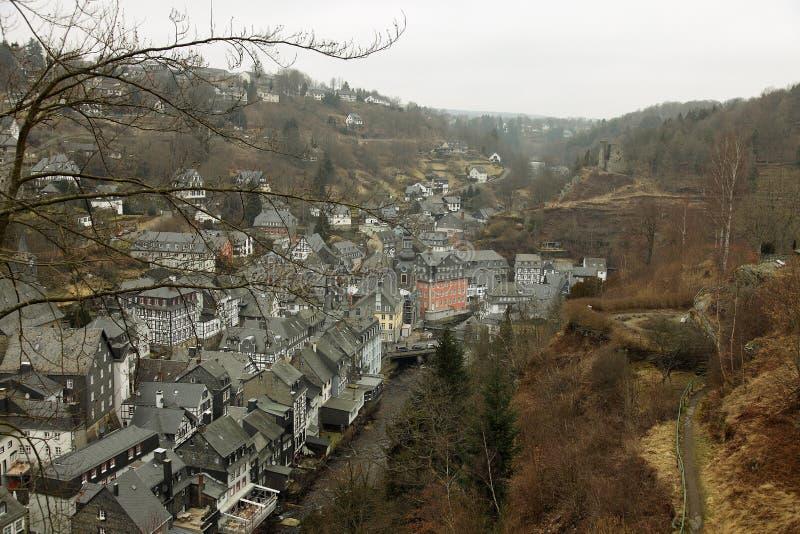 eifel德国monschau城镇视图 图库摄影