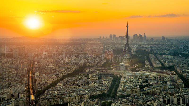 The eifel tower in Paris aerial panorama stock images
