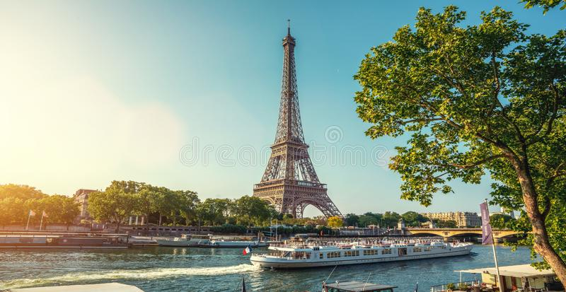 The eifel tower in Paris from a tiny street stock photo
