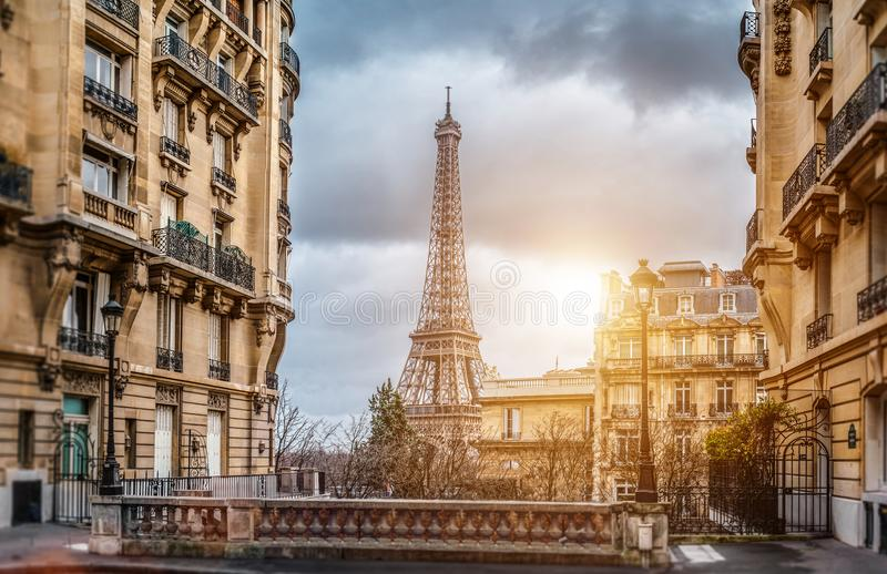 The eifel tower in Paris from a tiny street royalty free stock photo
