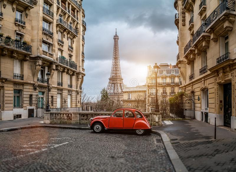 The eifel tower in Paris from a tiny street royalty free stock photos