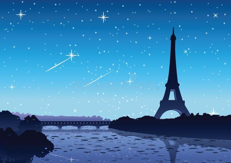 Eifel wierza w Paryskim sławnym punkcie zwrotnym świat przy nocą folował ilustracja wektor