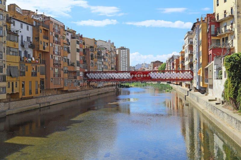 Eiffel Bridge Old Fish Bridge, Girona, Spain royalty free stock image