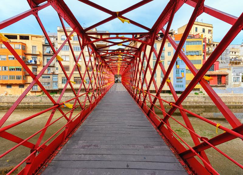 The Eiffel Bridge over the Onyar river, Girona, Catalonia, Spain stock photography