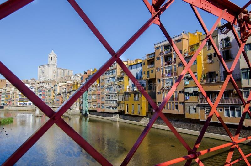 Eiffel bro av Gerona, Spanien arkivfoto