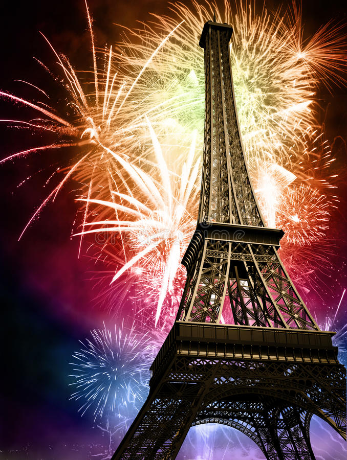 Eiffel con los fuegos artificiales ilustración del vector