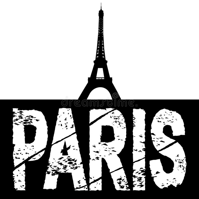 eiffel grunge Paris teksta wierza ilustracja wektor