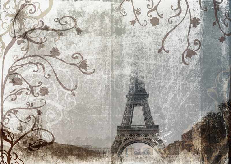 eiffel grungetorn stock illustrationer
