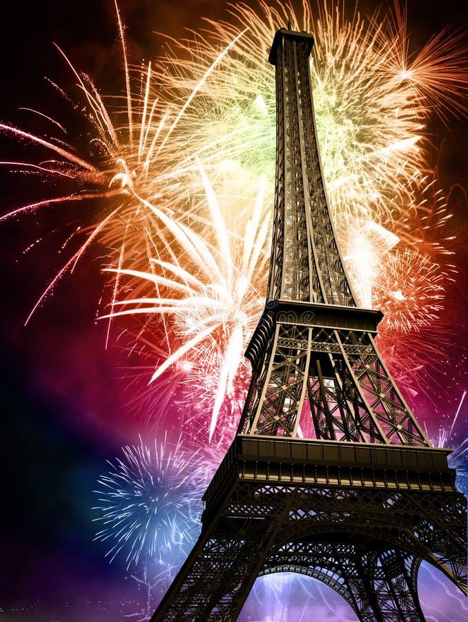 Eiffel mit Feuerwerken vektor abbildung