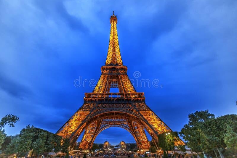 eiffel noc Paris wierza fotografia stock