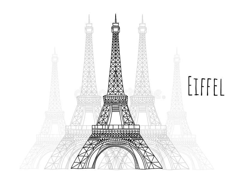 Eiffel ręka rysująca, punkty zwrotni zdjęcia royalty free