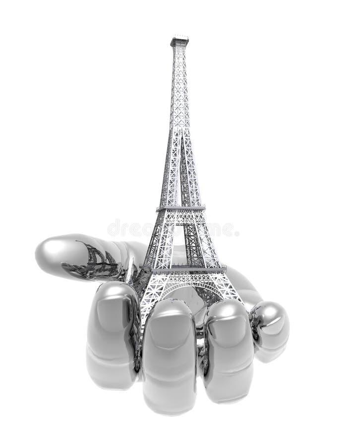 eiffel ręki Paris wierza ilustracji