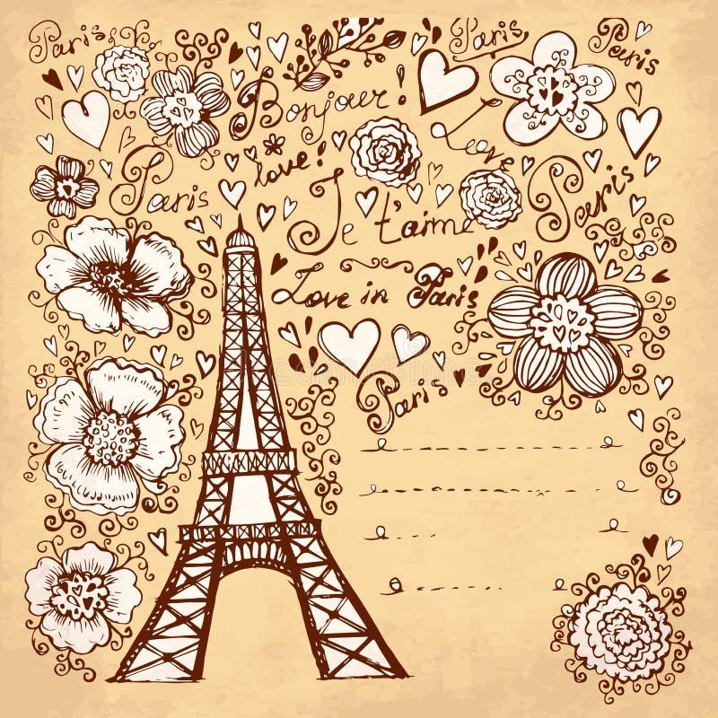 Eiffel står hög vektor illustrationer