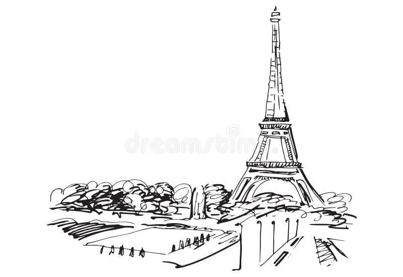 Eiffel står hög. Paris Frankrike. vektor illustrationer