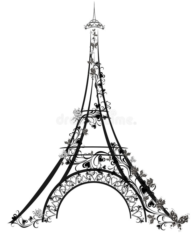 Eiffel står hög, Paris, Frankrike stock illustrationer