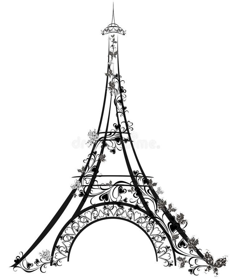 Eiffel står hög, Paris, Frankrike stock illustrationer