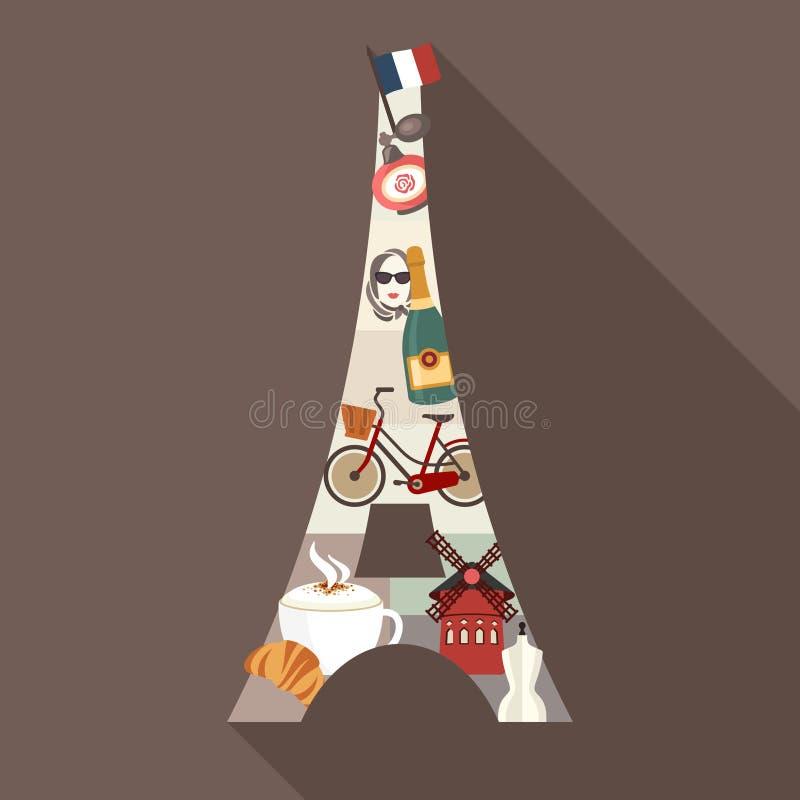 eiffel torn Illustration för loppParis tema stock illustrationer