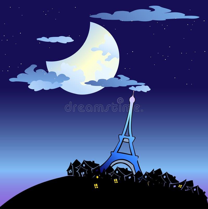 Eiffel torn på skymningen stock illustrationer
