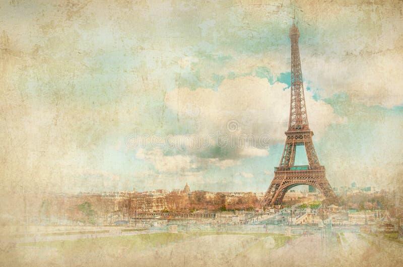 eiffel torn utformat retro för bakgrund royaltyfri bild