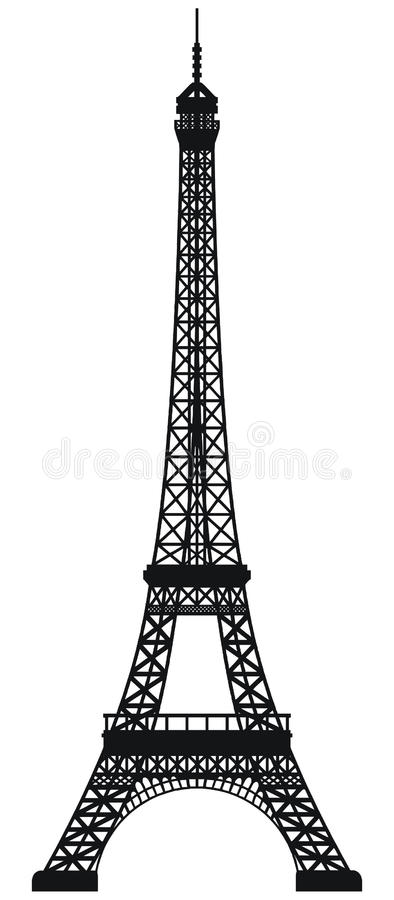 Eiffel Tower. Black silhouetted of Eiffel Tower isolated on white background