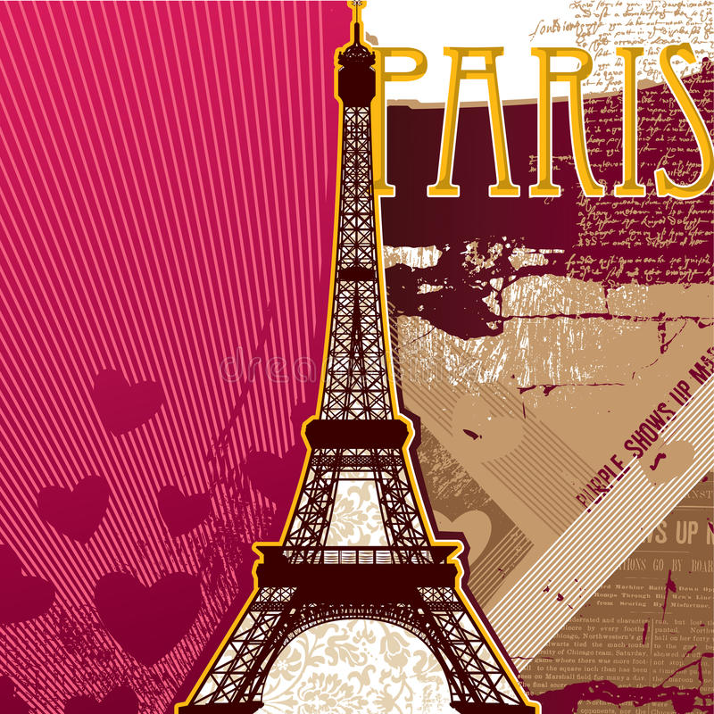 Eiffel tower. Artistic background. Vector illustration