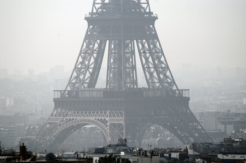 Eiffel Tower. Close-up view, Paris, France. Pic taken from the top of Triumph Arch