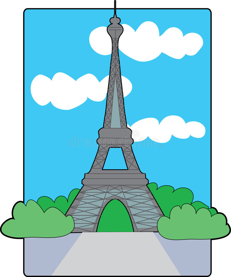 Eiffel Tower. The Eiffel Tower with a blue sky and clouds royalty free illustration